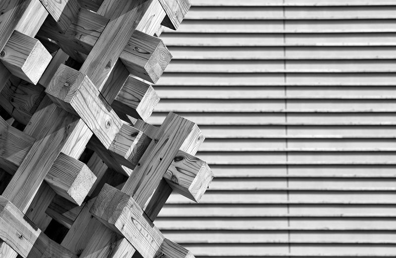 Abstract Backgrounds Blackandwhite Exterior Geometry Pattern Structure Wood Wood - Material Wooden Pattern Pieces