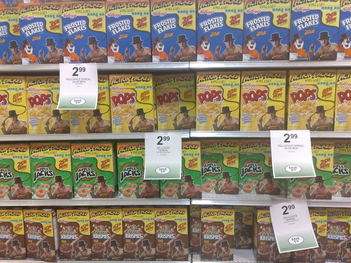 Pops Art Americana Apple Jacks Breakfast Cereal Coco Pops  Food Frosted Flakes Full Frame Indiana Jones Indoors  No People Price Tag Raiders Retail  Supermarket Supermarket