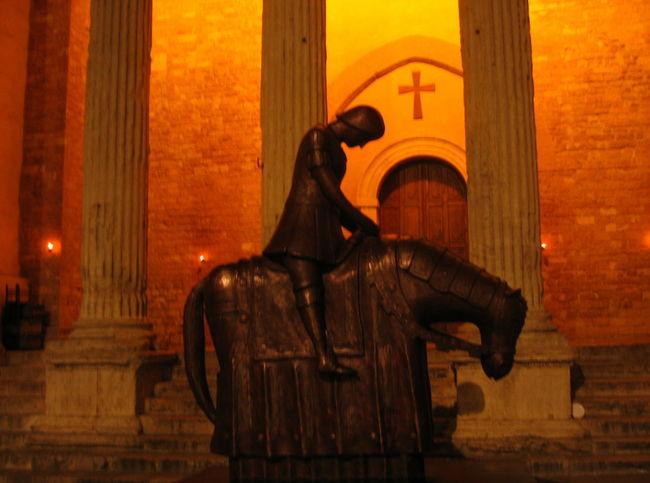 2006 Assisi Church Building Exterior Built Structure Horse Human Representation Night No People Sculpture Statue Umbria