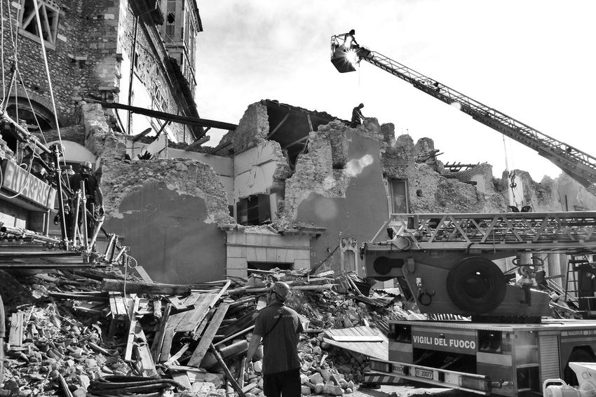 L'Aquila earthquake: fireman and ladder in the ruins of the town hall Abruzzo L'Aquila Ladder Rubble Wall Architecture Black And White Blackandwhite Building Exterior Built Structure Earthquake Earthquake In Italy Earthquake L'aquila Fireman Fireman At Work Italy Low Angle View Machinery Outdoors Ruined Building Town Hall