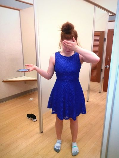 ❄Took my beautiful 13 year- old daughter to buy a dress for the Snowflake dance.❄ My Perspective Mother And Daughter Redhead Blue Trying On Dresses Shy Hands Covering Eyes