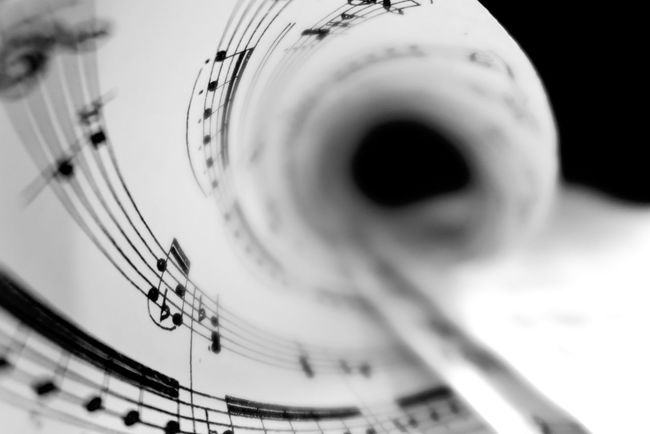 Arts Culture And Entertainment Black & White Black And White Blackandwhite Close-up Day Monochrome Music Music Music Notes Musical Equipment No People Notes Paper Paper View Piano Keys Piano Time Rolled Selective Focus Sheet Music Still Life