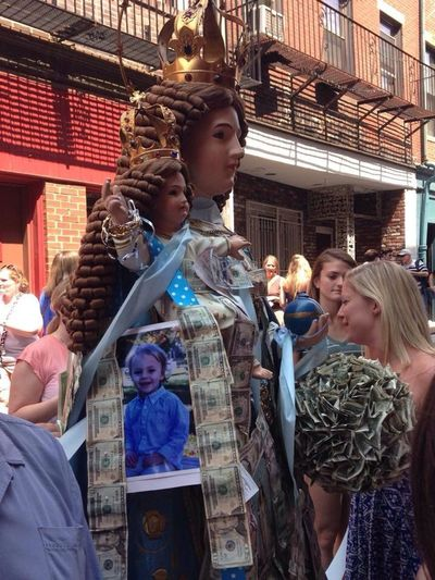 An Italian Festival where the statue of the Blessed Mother had John's picture & $200 taped to it. SaileTwins PrayersForJohn TheVille Streamzoofamily