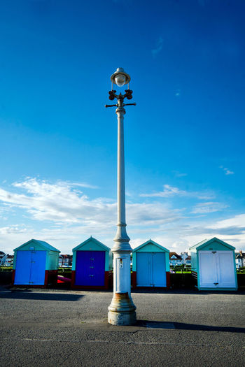 Architecture Beach Beach Huts Beach Huts And Sky Beach Life Beachhuts Beachhutstyle Blue Blue Sky Brighton Brighton Beach Brighton Seafront Brighton Uk Building Exterior Built Structure Cloud - Sky Day EyeEm Selects Lamppost Nature No People Outdoors Sky