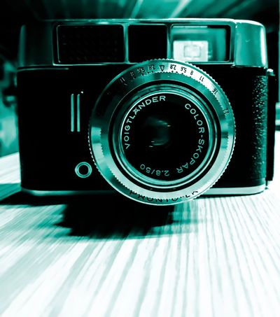 Camera - Photographic Equipment Photography Themes Technology Analogue Photography Retro Camera Old-fashioned Retro Styled No People Close-up Modern Indoors  Movie Camera Film Industry Day Green Color Creativity Creative Photography Edited Wall Art