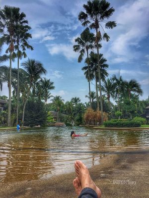 Our Presence Tree Palm Tree Real People Water Leisure Activity One Person Lifestyles Sky Barefoot Personal Perspective Holding Day Outdoors Human Leg Swimming Pool Low Section Human Body Part Nature Cloud - Sky Men