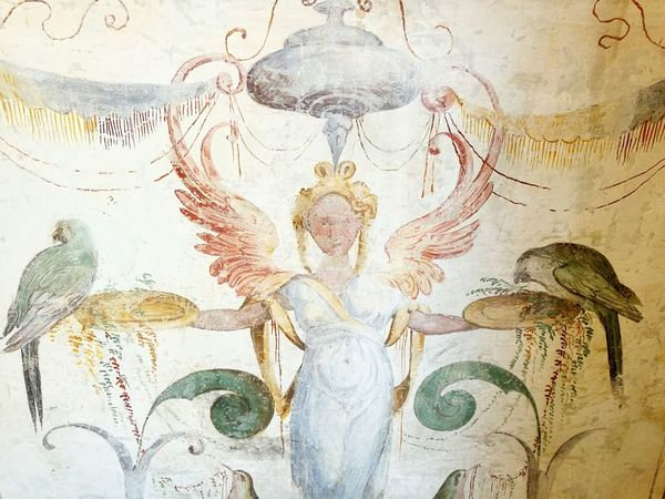 Birds Indoors  Close-up No People Parma Salabaganza Indoors  Old Town Traveling Voyage Indoors  Fresco Paintings Frescoes Fresco Fresco Decorations Fresco N Mural Frescos Fresco Wall Textured  Parrot Bird Women Mitology