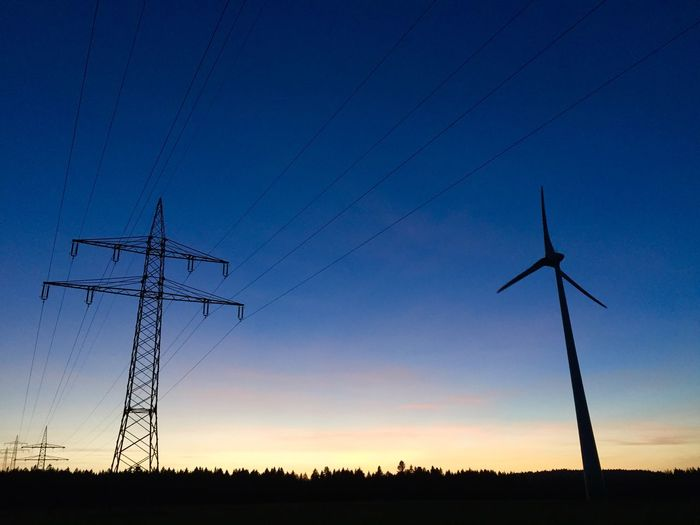 Electric Sundown Sundown Electricity  Electric Lines Windcraft Windmill Natural Power Green Energy Black Forest Beautiful Nature Blue Sky Renewable Energy