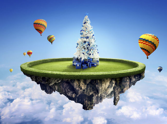 Amazing fantasy scenery with floating islands with white Christmas tree, hot balloons and decoration Ballons Ballons In The Sky Beautiful Celebration Float Fun Air Anniversary Backgrounds Ballooning Festival Beauty In Nature Blue Colorful Concept Concept Art Conceptual Day Decoration Design Dusk Fantasy Festive Fields Floating Flying Hot Air Balloon Low Angle View Mid-air Nature No People Outdoors Parachute Sky Water