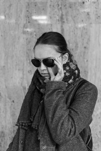 Off to work Blackandwhite Nikon D5200 Nikon Morning Autumn Bucharest Street Photography Business Glasses Sunglasses Fashion One Person Lifestyles Real People The Modern Professional Portrait Young Adult Clothing Young Women Scarf EyeEmNewHere My Best Photo