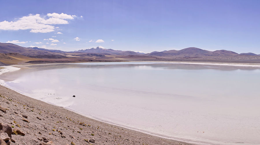 Panorama of Miscanti Lake, Chile. The miniques volcano complex in the distance. Atacama Desert Chile Chilean Andes Laguna Miscanti Laguna Miñiques Miscanti Lake Nature Arid Climate Beauty In Nature Desert Lake Landscape Mountain Range Nature No People Outdoors Salt - Mineral Salt Basin Salt Flat Sand Scenics South America Tranquil Scene Tranquility Water