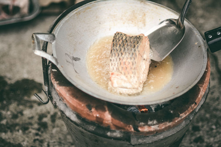 Fried fish Appliance Camping Stove Close-up Container Cooking Pan Crockery Domestic Room Fish Food Food And Drink Freshness Fried Fish Heat - Temperature High Angle View Household Equipment Indoors  Kitchen Kitchen Utensil No People Oil Preparation  Still Life Stove