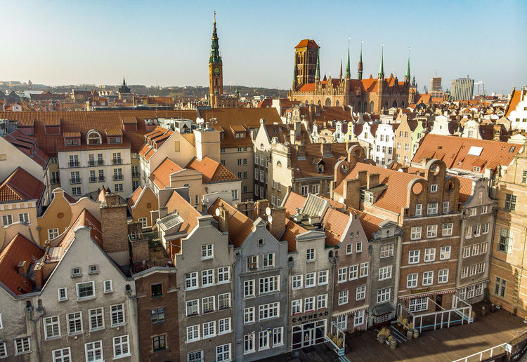 Gdansk Old Town Building Exterior Architecture Built Structure City Building Residential District Cityscape Crowd Day Travel Destinations Town Outdoors High Angle View Tower House TOWNSCAPE Gothic Style Apartment Gdansk Gdansk (Danzig) Old Architecture Poland Cityscape City Life Architecture_bw