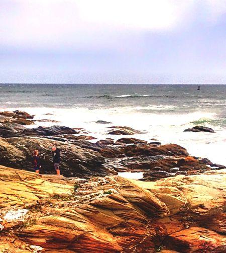 Beauty In Nature Around Me Photo. Jamestown RI Rock Cliffs On Ocean Water. Jamestown, RI, USA Textured