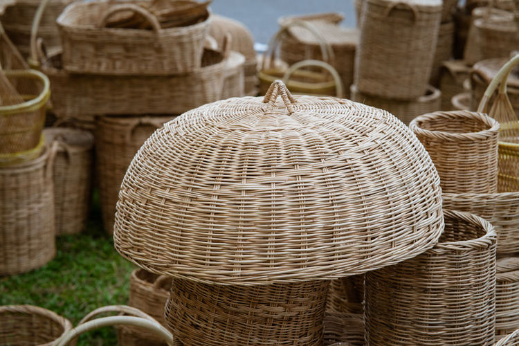 Close-up of wicker basket for sale