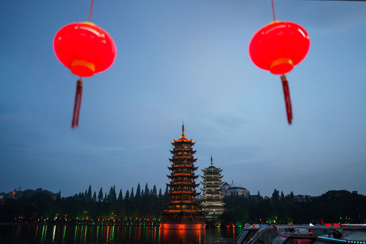 Architecture Balloon Building Building Exterior Built Structure China Chinese Lantern Illuminated Lighting Equipment Low Angle View Place Of Worship Place To Visit Red Sky HUAWEI Photo Award: After Dark