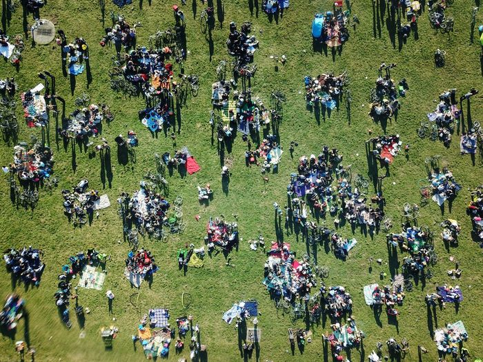Bird's eye view. Perspectives And Dimensions Drone Perspective Go Higher Dji Dji Phantom Celebrating Celebration Berlin Colorful Tourist Attraction  Birds Eye View Tempelhofer Feld Dronephotography DJI Mavic Pro Green Color Grass Joyful People Watching Grill Grill Party Directly Above Sport Playing Field Sports Clothing Men Sportsman Competitive Sport #FREIHEITBERLIN