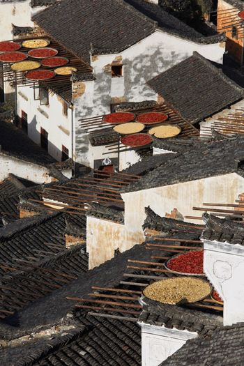 High angle view of spices drying on rooftops