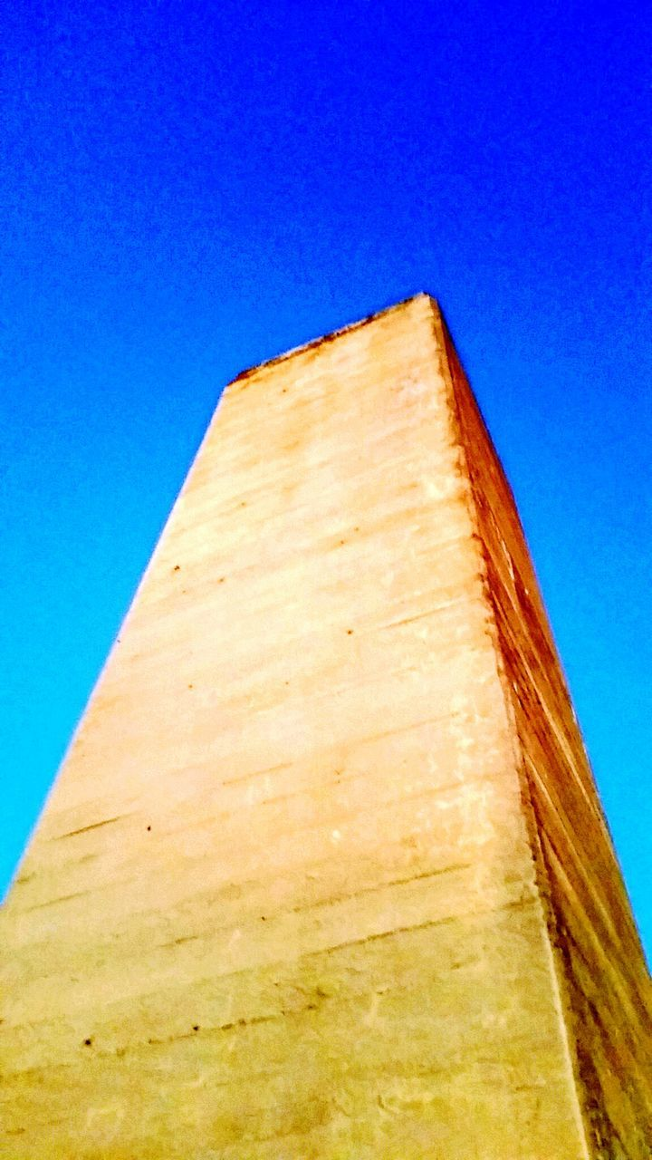 low angle view, blue, clear sky, no people, day, built structure, close-up, architecture, outdoors, sky