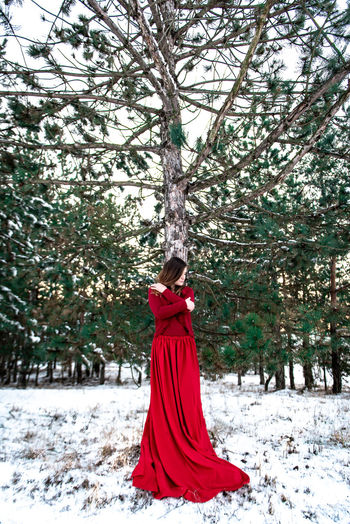 Morning Light Green White Background Pinetrees Tree Forest Copy Space Natural Snowy Cold Temperature Winter Snow Girl Woman In Red Red Dress Red Outdoors Nature Women One Person Standing Young Adult WoodLand
