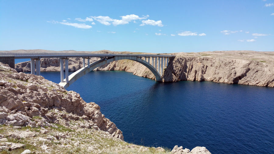 Pag Bridge Over Bay Of Water Against Sky
