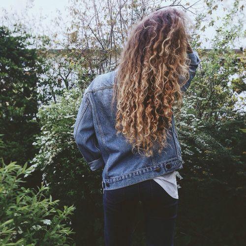 Let Your Hair Down Curly Hair Curls Long Hair Girl That's Me Green Green Green Green!  Springtime Denim Denim Jacket