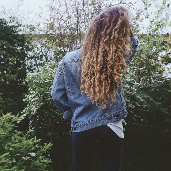 Let Your Hair Down Curly Hair Curls Long Hair Girl That's Me Green Green Green Green!  Springtime Denim Denim Jacket