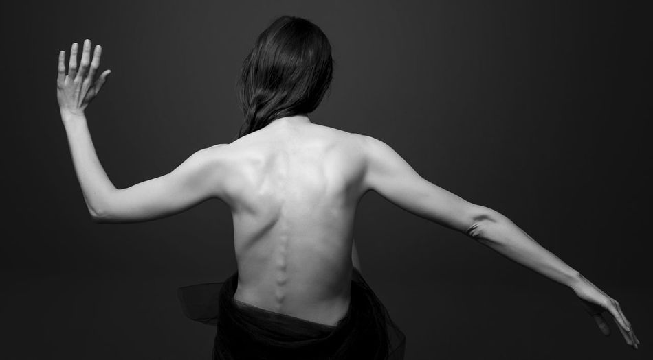 Back Black Background Day Human Back Human Body Part Human Hand Indoors  Lifestyles One Person People Real People Rear View Shirtless Spine Standing Studio Shot The Photojournalist - 2017 EyeEm Awards