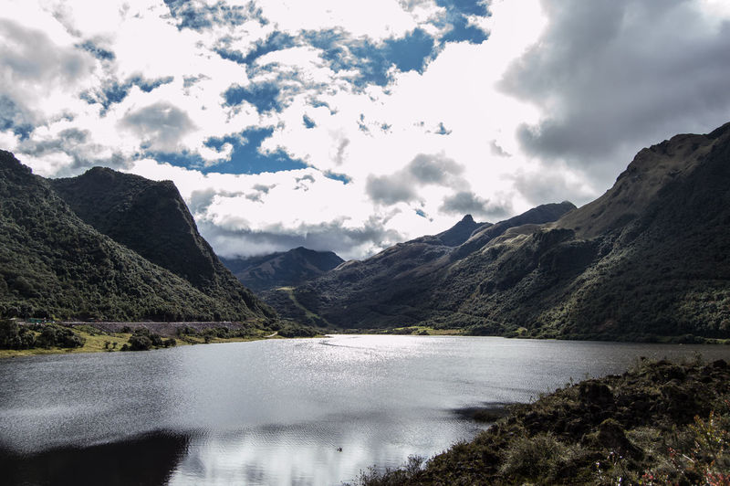 Andes Mountains Beauty In Nature Cloud - Sky Ecuador Lake Landscape Mountain Nature No People Outdoors Water