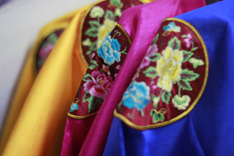 Korea Art And Craft Blue Choice Close-up Clothing Day Fashion Floral Pattern Focus On Foreground Hanbok High Angle View In A Row Indoors  Koreanhanbuk Multi Colored No People Pattern Pink Color Selective Focus Still Life Textile Variation