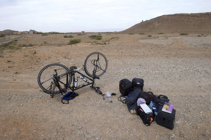 On the road between Merzouga & Rissani in Morocco. Bicycle Trip Desert Morocco MoroccoTrip Rissani Adventure Adventure Time Arid Climate Bicycle Cycling Day Environment Flat Tyre Landscape Mode Of Transportation Outdoors Transportation Travel Wheel