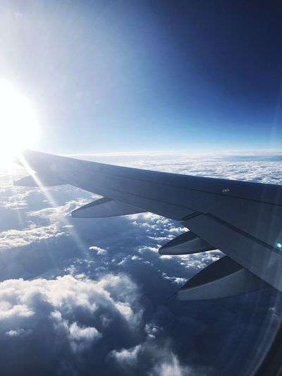Airplane Transportation Sky Aerial View Nature Journey Cloud - Sky Airplane Wing No People Day Travel Beauty In Nature Sunlight Tranquility Outdoors Blue Scenics Air Vehicle Flying Tranquil Scene