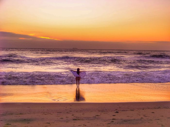 Sunset Sunset_collection Sunset Silhouettes Waves, Ocean, Nature Waves Waves Crashing Beach Ocean Sea Sunrise Romantic Sky Moody Sky Calm Dramatic Landscape Coastline Dramatic Sky