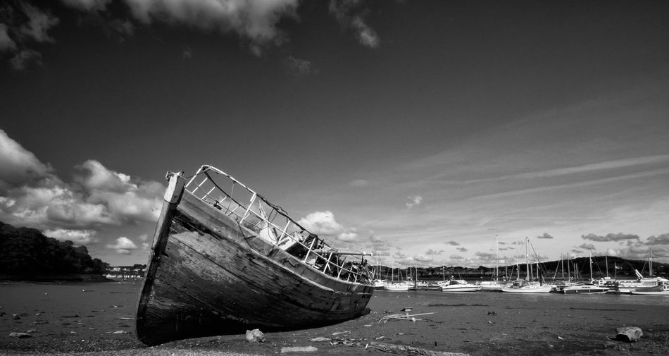 """Wreck of the """"Grey Lady"""" Beached & Abandoned ( B & W ) OlympusPEN Blackandwhite Monochrome Light And Shadow Boats Conwy Landscape"""