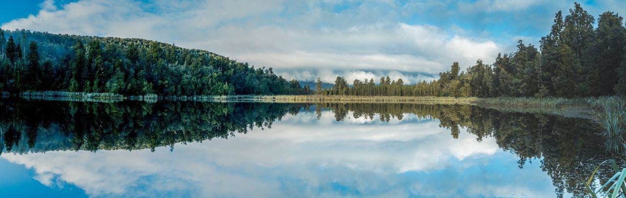 Landscape Reflection Cloud - Sky Sky Water Lake Tree Waterfront Tranquil Scene Tranquility Beauty In Nature Symmetry Scenics Nature Standing Water Idyllic Outdoors Day No People