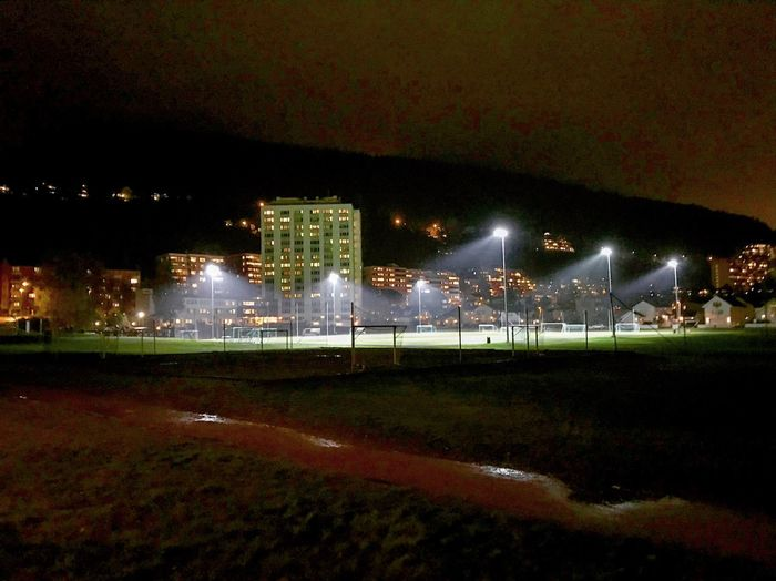 Field Playing Field Field Game Night Illuminated Architecture Building Exterior Built Structure No People Outdoors City Cityscape Sky Nature