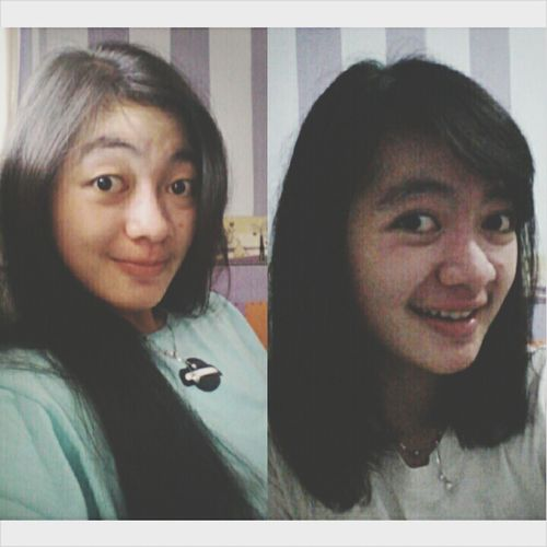 before and after  Girl INDONESIA Bandung New Haircut