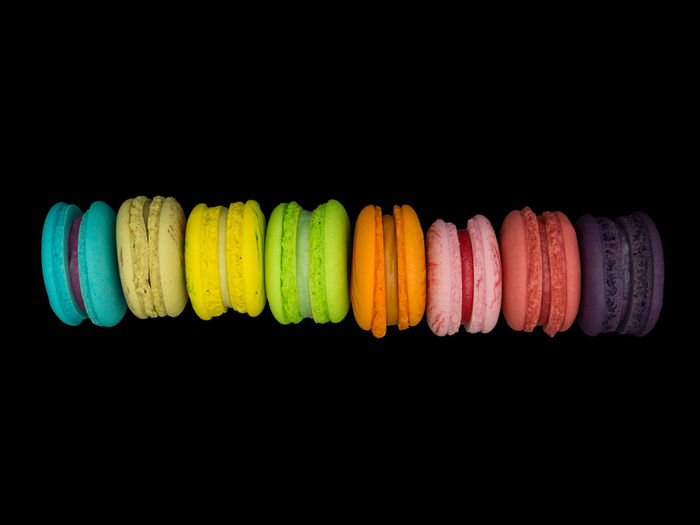 Sweet cake macaron and colorful almond macaron cookies isolated on black background Almond Background Bake Bakery Biscuit Colorful Cookie Cream Food France Gift Macarons Retro Romantic Row Snake Stacked Sugar Sweet Valentine