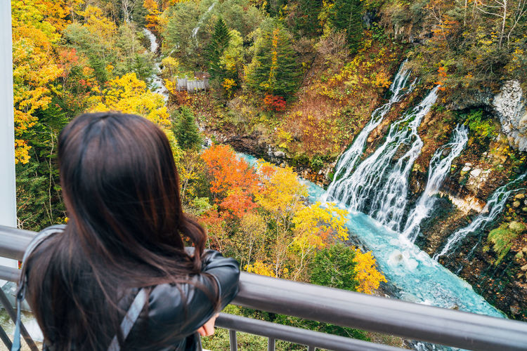 Daisetsuzan One Person Leisure Activity Lifestyles Real People Rear View Nature Autumn Beauty In Nature Scenics - Nature Plant Portrait Adult Day Tree Women Railing Non-urban Scene Hair Headshot Hairstyle Change Outdoors Flowing Water
