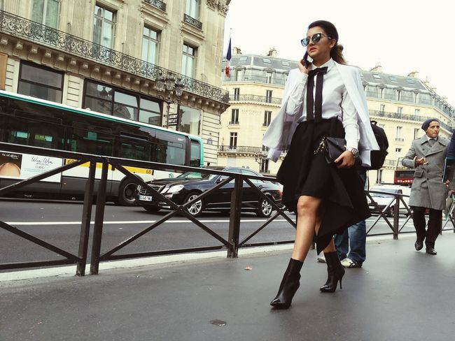 A Fashionista arrives at the STELLA McCARTNEY SS16 Fashion Show at Paris Fashion Week shot on IPhone 6s