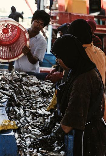 People at fish market