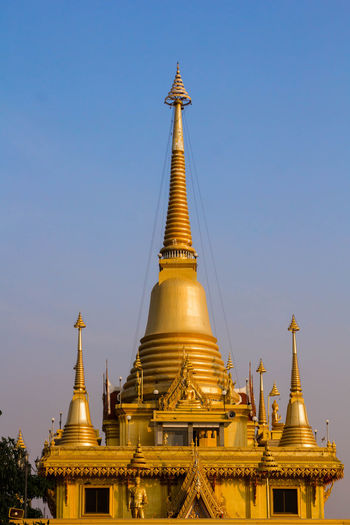 Low angle view of pagoda against clear sky