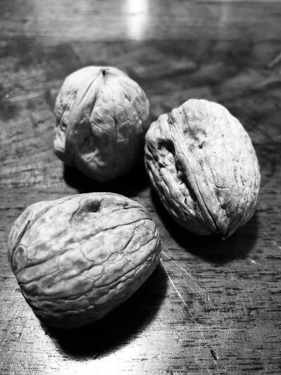 Nuts on the table black and white