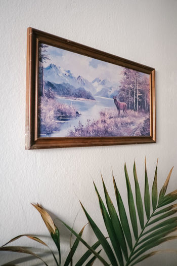 Nature Plant No People Indoors  Picture Frame Frame Paintings Human Representation Mountain Day Representation Art And Craft Tree Cloud - Sky Paint Beauty In Nature Wall - Building Feature Close-up Creativity