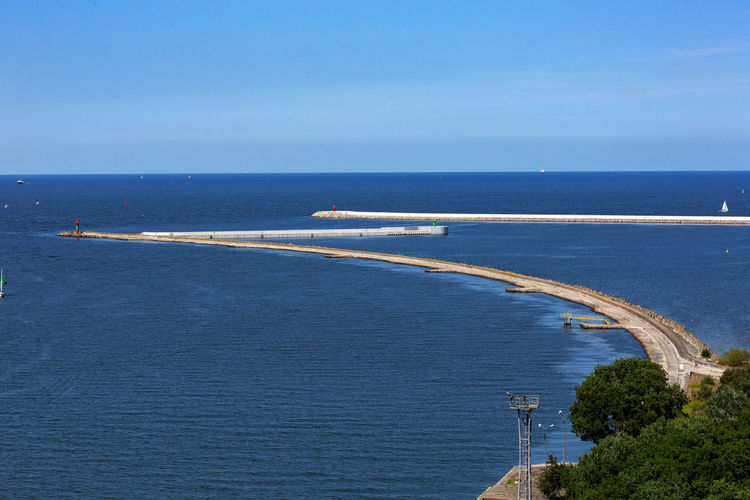 Baltic Sea Beauty In Nature Blue Bridge Clear Sky Day High Angle View Horizon Horizon Over Water Mode Of Transportation Nature No People Outdoors Road Scenics - Nature Sea Sky Transportation Travel Water