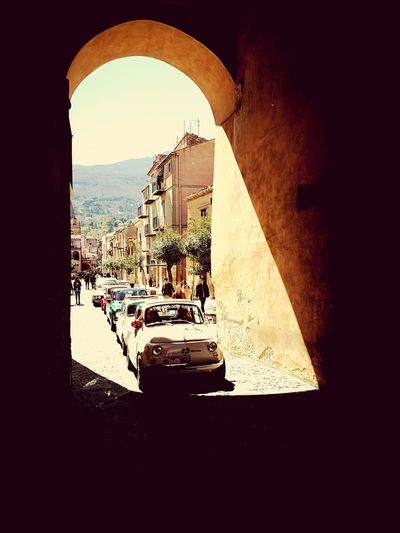 Old fashion Car Mode Of Transport Arch Built Structure Castelbuono Raduno Auto Old-fashioned Fiat500 Fiat 500 Hold Car 500 Vintage Headlight Vintage Car Car Point Of View Collector's Car Vehicle Arcade Archway Historic