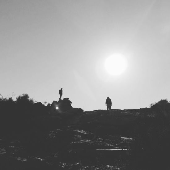 My Year My View c Silhouette Two People Outdoors Sky Landscape Friendship Nature Beauty In Nature Tranquility Non-urban Scene Eyeeybestshots EyeEm EyeEm Nature Lover Nature light and reflection Grey The Week On EyeEm Black And White Friday EyeEmNewHere The Great Outdoors - 2018 EyeEm Awards