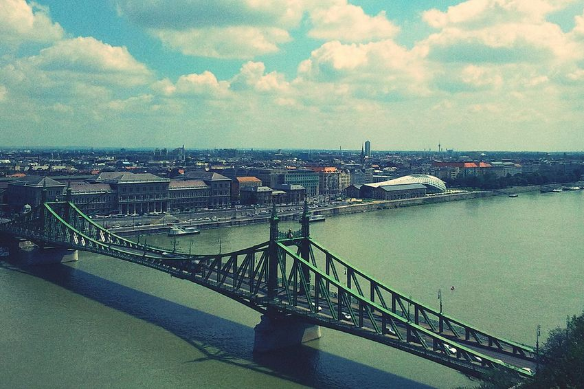 Budapest Bridge Danube River Szabadság HID Hungary Green