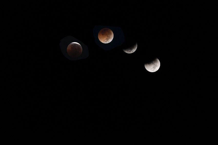 Lunar eclipse - july 28, 2018. Southeastasia Eyemmasterclass Nightphotography Interval EyeEm Best Shots Lunar Eclipse Copy Space Low Angle View Black Background Astronomy Space Clear Sky Beauty In Nature