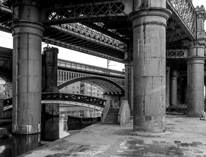 Three Bridges, Castlefield, Manchester Castlefield Canals Industrial Landscapes Industrial Architecture Monochrome Black And White In Manchester Manchester Bridges